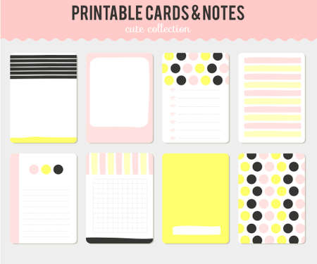 hipster: Cute cards, notes and stickers with spring and summer illustrations. Template for scrapbooking, notebooks, diary, personal schedule and school accessories.