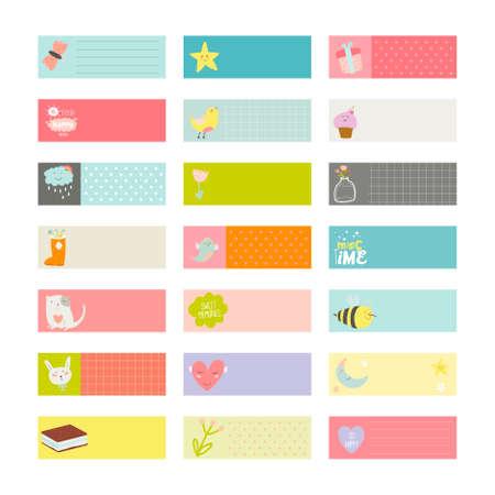 romantico: Tarjetas lindas, notas y pegatinas con la primavera y el verano ilustraciones. Plantilla para scrapbooking, cuadernos, diario, horario personal y accesorios de la escuela. Vectores