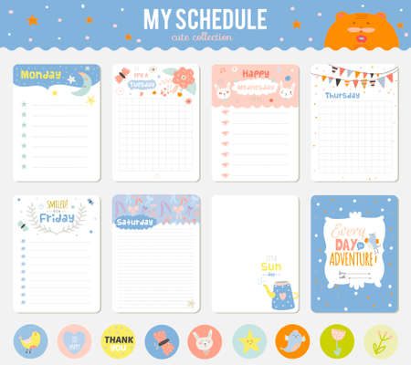 zeitplan: Nette Karten, Anmerkungen und Aufkleber mit Frühling und Sommer Abbildungen. Vorlage für das Scrapbooking, Hefte, Tagebuch, persönlichen Zeitplan und Schule Zubehör.