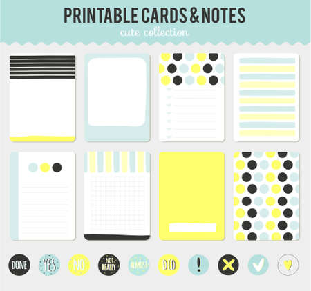 note: Cute cards, notes and stickers with spring and summer illustrations. Template for scrapbooking, notebooks, diary, personal schedule and school accessories.