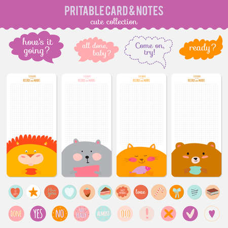notebook icon: Cute cards, notes and stickers with spring and summer illustrations. Template for scrapbooking, notebooks, diary, personal schedule and school accessories.