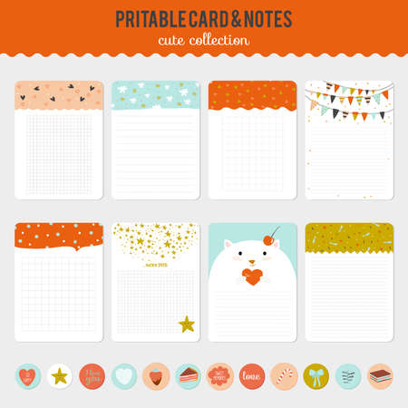 cute kitty: Cute cards, notes and stickers with spring and summer illustrations. Template for scrapbooking, notebooks, diary, personal schedule and school accessories.