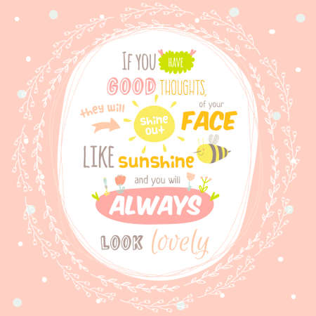 Greeting card with cute and character vector illustration and typographic. Inspirational and motivational quotes poster. Good for happy birthday greetings and other holidays.
