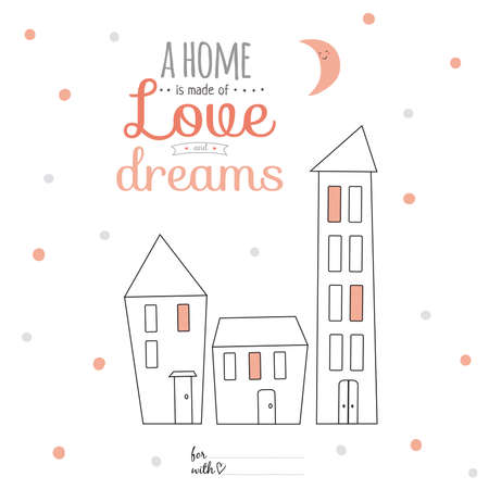 wishes romantic: Inspirational and motivational romantic quotes card with calligraphic and typographic wishes. Template for greeting design. Illustration sweet home with lovely lettering. Vector template.