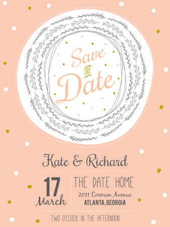 marriage: Inspirational romantic and love Save the Date invitation card in pastel colors. Stylish template for wedding, marriage, invitations. Greeting illustration wreath with lovely wish