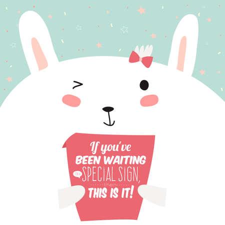 felicitaciones cumpleaÑos: Tarjeta de felicitación con ilustración lindo y divertido conejito. Tarjeta de felicitación inspirada y de motivación con el conejito divertido y póster cotizaciones de motivación. Bueno para felices saludos de cumpleaños y otras fiestas