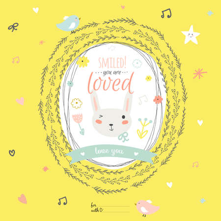 Romantic and lovely card with greeting wish and cute bunny in a wreath. Template for wedding, mothers day, birthday, invitations.