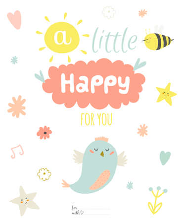 Cute summer card with character vector illustration and typographic. Inspirational and motivational quotes poster. Good for happy birthday greetings and other holidays.  イラスト・ベクター素材