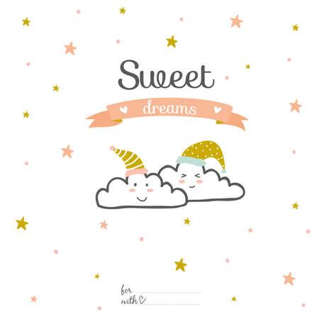 dulces sue�os: Inspirado tarjeta rom�ntica y el amor por San Valent�n feliz. Plantilla para la boda, d�a de madres, cumplea�os, invitaciones. Saludo encantadora deseo con lindas nubes sonrientes. Dulces sue�os