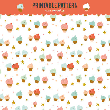 cute wallpaper: Cute funny seamless pattern with sweet cupcakes. Best for surface textures, wallpaper, wrapping, scrapbooking background. Cartoon smiling face cupcakes