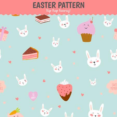 浪漫: 可愛搞笑無縫模式與甜美的蛋糕,bunnys,心,星星,彩帶,棒棒糖。最適合的紋理,牆紙,包裝,剪貼簿。在矢量可愛浪漫的復活節背景