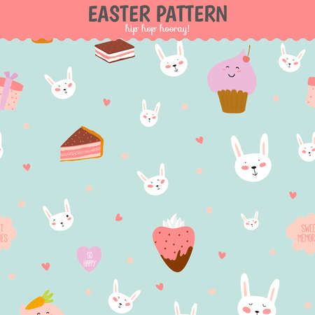 easter cake: Cute funny seamless pattern with sweet cupcakes, bunnys, hearts, stars, ribbons, lollipops. Best for textures, wallpaper, wrapping, scrapbooking. Lovely romantic Easter background in vector