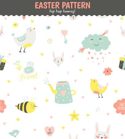 romantyczny: Cute Zabawna szwu z zwierząt, Bunny, serca, gwiazdy, ptaki, kwiaty, kurczaka i życzenia. Najlepsze do tekstury, tapety, opakowania, scrapbooking. Piękny romantyczny Wiosną tła w wektorze Ilustracja