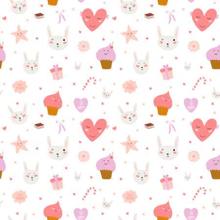 달콤한 컵 케이크, 버니, 하트, 별, 리본, 막대 사탕 귀여운 재미 원활한 패턴입니다. 텍스처, 벽지, 포장, 스크랩북에 적합합니다. 벡터 사랑스러운 로