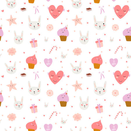 Cute funny seamless pattern with sweet cupcakes, bunnys, hearts, stars, ribbons, lollipops. Best for textures, wallpaper, wrapping, scrapbooking. Lovely romantic Easter background in vector