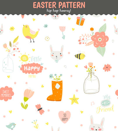 Cute funny seamless pattern with animals, Bunny, hearts, stars, birds, flowers, chicken and wishes. Best for textures, wallpaper, wrapping, scrapbooking. Lovely romantic Spring background in vector