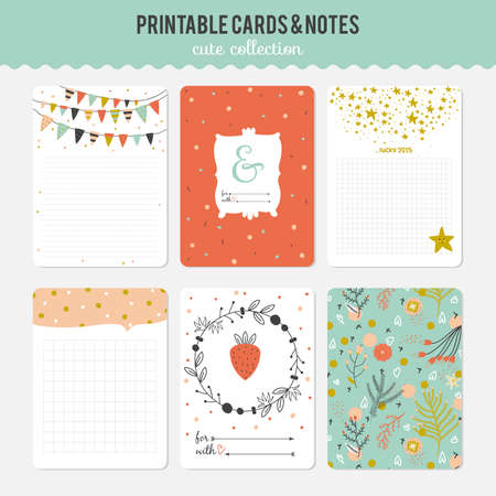 personal accessories: Cute cards, notes and stickers with spring and summer illustrations. Template for scrapbooking, notebooks, diary, personal schedule and school accessories.