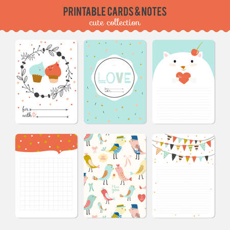 festive pattern: Cute cards, notes and stickers with spring and summer illustrations. Template for scrapbooking, notebooks, diary, personal schedule and school accessories.