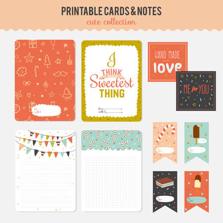 notebook paper: Cute cards, notes and stickers with spring and summer illustrations. Template for scrapbooking, notebooks, diary, personal schedule and school accessories.
