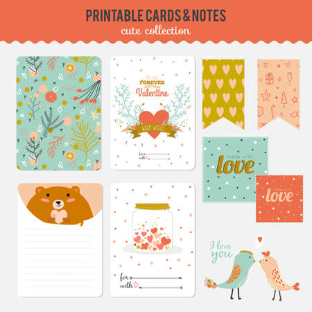 printables: Cute cards, notes and stickers with spring and summer illustrations. Template for scrapbooking, notebooks, diary, personal schedule and school accessories.