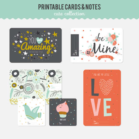 cute cards: Cute cards, notes and stickers with spring and summer illustrations. Template for scrapbooking, notebooks, diary, personal schedule and school accessories.
