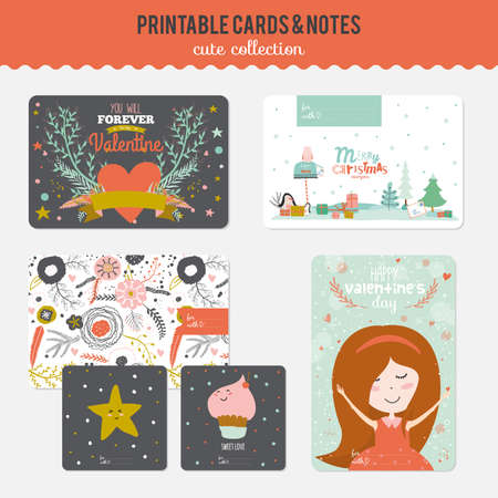 Cute cards, notes and stickers with spring and summer illustrations. Template for scrapbooking, notebooks, diary, personal schedule and school accessories. Vector