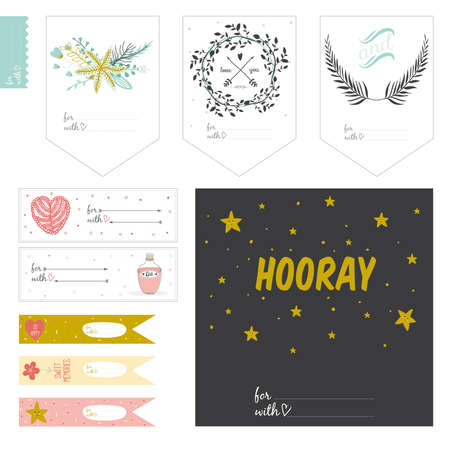 hooray: Cute cards, notes and stickers with spring and summer illustrations. Template for scrapbooking, notebooks, diary, personal schedule and school accessories.