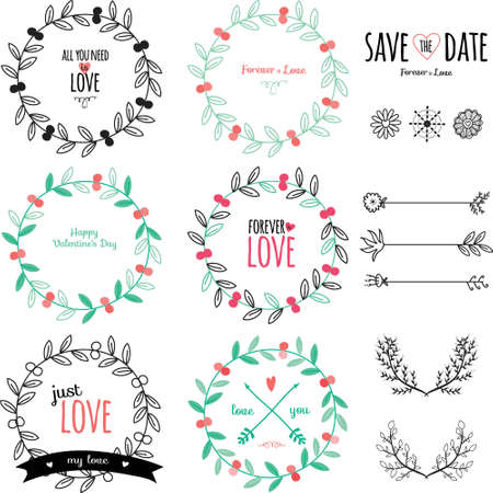 save: Romantic and love set of greeting hand drawn wreaths, laurels and floral elements with labels and ribbons. Template for wedding cards, banners, invitations or placard Illustration
