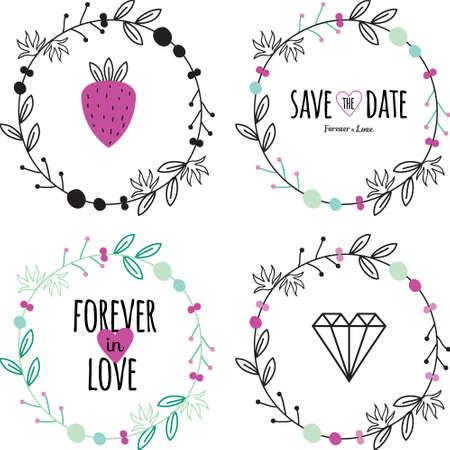 Romantisch en liefde set groet hand getrokken kransen, lauweren en florale elementen met labels en linten. Sjabloon voor bruiloft kaarten, spandoeken, uitnodigingen of plakkaat