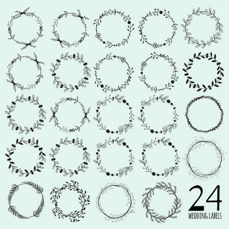hand drawn: Romantic and love set of greeting hand drawn wreaths, laurels and floral elements with labels and ribbons. Template for wedding cards, banners, invitations or placard Illustration