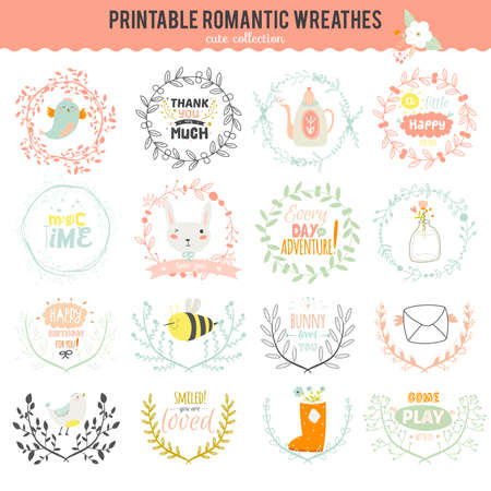 Romantic and love set of greeting hand drawn wreaths, laurels and floral elements with labels and ribbons. Template for wedding cards, banners, invitations or placard Illustration