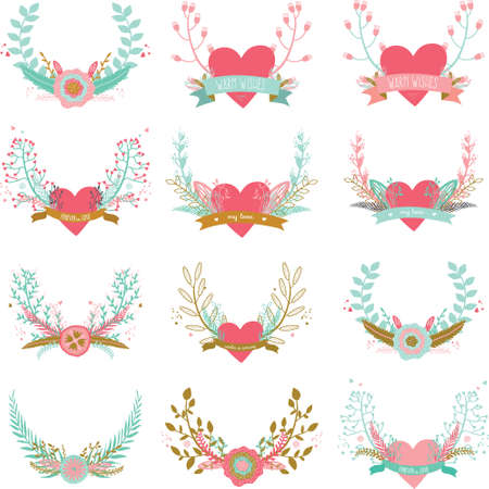 spring flowers: Romantic and love set of greeting hand drawn wreaths, laurels and floral elements with labels and ribbons. Template for wedding cards, banners, invitations or placard Illustration