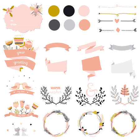 Romantic and love set of greeting hand drawn wreaths, laurels and floral elements with labels and ribbons. Template for wedding cards, banners, invitations or placard  イラスト・ベクター素材