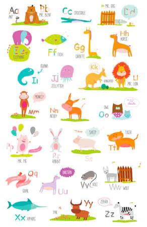 벡터에서 만화와 재미있는 동물 귀여운 벡터 동물원 알파벳입니다. 편지. 읽어보십시오. 흰색 배경에 고립입니다. 일러스트