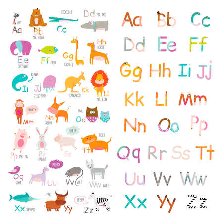kindergarten education: Cute vector zoo alphabet with cartoon and funny animals in vector. Letters. Learn to read. Isolated on white background.