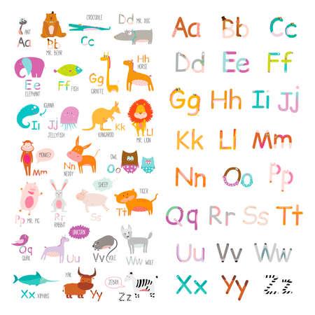 Mignon alphabet vecteur zoo avec la bande dessinée et de drôles d'animaux dans le vecteur. Lettres. Apprenez à lire. Isolé sur fond blanc. Banque d'images - 40618320