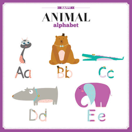 vocabulary: Cute vector zoo alphabet with cartoon and funny animals in vector. Letters. Learn to read. Isolated on white background.