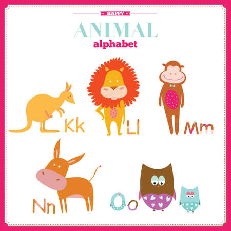alfabeto con animales: Alfabeto vector zoo linda con dibujos animados y animales divertidos en el vector. Cartas. Aprender a leer. Aislado en el fondo blanco. Vectores