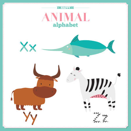 cute animals: Cute vector zoo alphabet with cartoon and funny animals in vector. Letters. Learn to read. Isolated on white background.