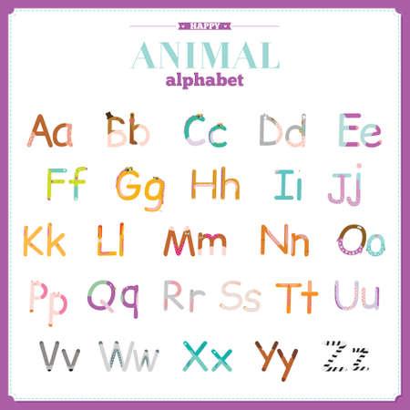 funny animal: Alfabeto vector zoo linda con dibujos animados y animales divertidos en el vector. Cartas. Aprender a leer. Aislado en el fondo blanco. Vectores