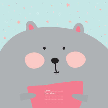 for design: Greeting card with cartoon and funny character animals. Vector illustration in cute style. Children collection. Template for birthday greetings or other holidays, placards or cards design.