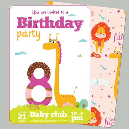 kids birthday party: Birthday anniversary numbers with cute animals and kids and Birthday Party Invitation card template in cartoon and cute style. Bright background with balloons, sky, flowers, trees, grass