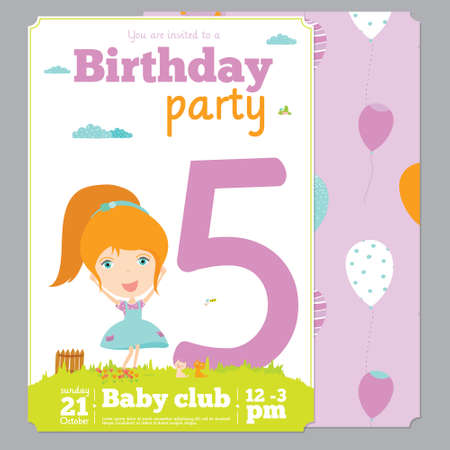 Birthday anniversary numbers with cute animals and kids and Birthday Party Invitation card template in cartoon and cute style. Bright background with balloons, sky, flowers, trees, grass Vector