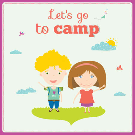 summer camp: Vector illustration background for tourism or forest camp for kids in a cute character style. Bright poster with funny children. Spring and summer season. Outdoor, travel,  playground, garden, sky, grass, tree.