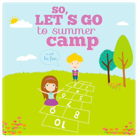 Vector illustration background for tourism or forest camp for kids in a cute character style. Bright poster with funny children. Spring and summer season. Outdoor, travel,  playground, garden, sky, grass, tree. Vector