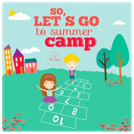 campamento: Ilustración vectorial Fondo para el campamento de turismo o bosque para los niños en un estilo lindo personaje. Cartel luminoso con niños divertidos. Temporada de primavera y verano. Al aire libre, viajes, parque, jardín, cielo, hierba, árbol. Vectores