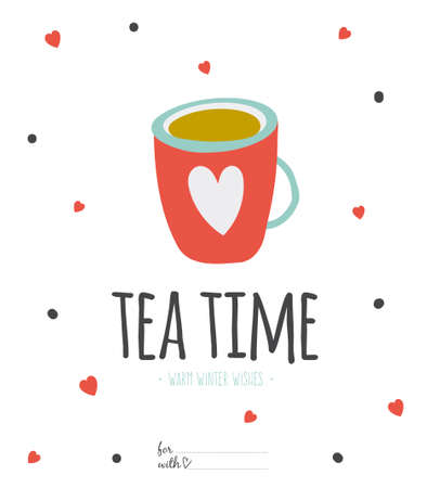 Happy new 2015 year greeting card with Christmas and winter calligraphic and typographic wishes. Inspirational and motivational romantic and love quotes poster. Illustration cup of tea or coffee Stock Illustratie