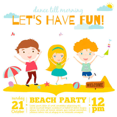 Vector invitation card on summer beach party with smiling and happy kids  in a cute and cartoon style. Bright Spring and Summer season background with balloons, beach, sky, flowers, trees, glass.