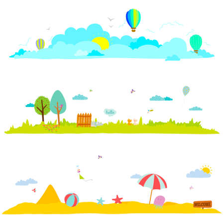 animal park: Vector illustration banners for tourism or camp for kids in a cute and cartoon style. Spring and summer season background. Outdoor, travel, beach, sea, playground, garden, sky, grass, tree