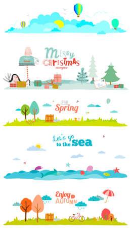 귀여운 만화 스타일의 아이를위한 여행이나 캠프 벡터 일러스트 레이 션 배너. 봄, 여름, 가을, 겨울 시즌 배경. 야외, 눈, 해변, 바다, 놀이터, 정원, 하 일러스트